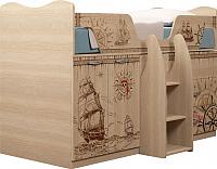 Кровать-чердак детская Ижмебель Квест 9 (дуб сонома светлый) -