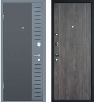 Входная дверь МеталЮр М28 Черный бархат/серый металлик/дуб шале графит (96x205, левая) -