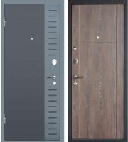 Входная дверь МеталЮр М28 Черный бархат/серый металлик/дуб шале корица (86x205, левая) -