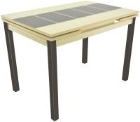 Обеденный стол Аврора Шанхай Каре 74x110-170x79 (молочный/коричневый) -