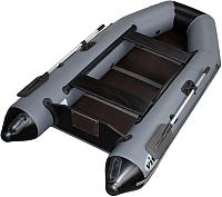 Надувная лодка Vivax Т280 с полом-книгой (без киля, серый/черный) -