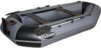 Надувная лодка Vivax К300Т с полом-книгой (без киля, серый/черный) -