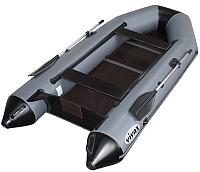 Надувная лодка Vivax Т330 с полом-книгой (без киля, серый/черный) -