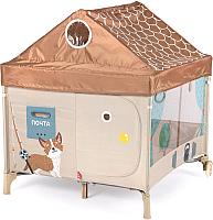 Игровой манеж Happy Baby Alex Home с лампой / 93000 (коричневый) -