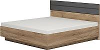 Двуспальная кровать Глазов Neo 307 Люкс с ПМ 160x200 (дуб табачный Craft/черный) -