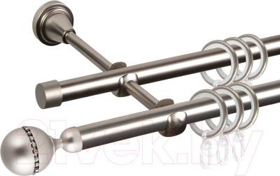 Карниз для штор АС ФОРОС Grace D16Г/16Г + наконечники Кортеза (3м, сатин)