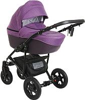 Детская универсальная коляска Pituso Confort 2 в 1 (фиолетовый/кожа темная/фиолетовый, рама черная) -