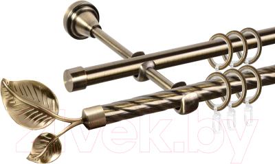 Карниз для штор АС ФОРОС Grace D16K/16Г + наконечники Лист большой (1.8м, антик)
