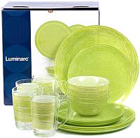 Набор столовой посуды Luminarc Brush Mania Green P3700 -
