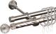 Карниз для штор АС ФОРОС Grace D16K/16Г + наконечники Шар рифленый (1.4м, сатин) -
