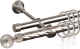 Карниз для штор АС ФОРОС Grace D16K/16Г + наконечники Шар рифленый (1.8м, сатин) -