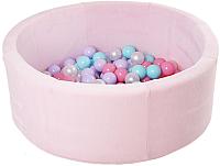 Игровой сухой бассейн Romana Airpool Max ДМФ-МК-02.54.01 (розовый, 150 шариков ассорти с розовым) -