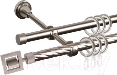 Карниз для штор АС ФОРОС Grace D16K/16Г составной + наконечники Венето (3м, сатин)