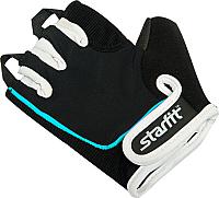 Перчатки для пауэрлифтинга Starfit SU-111 (S, черный/белый/голубой) -