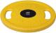 Диск для штанги MB Barbell Олимпийский с ручками d51мм 15кг (желтый) -