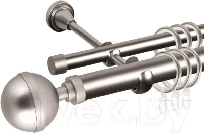 Карниз для штор АС ФОРОС Grace D25Г/16Г + наконечники Шар большой (1.8м, сатин)