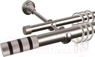 Карниз для штор АС ФОРОС Grace D25Г/16Г составной + наконечники Тристан черный (3м, сатин)