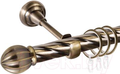 Карниз для штор АС ФОРОС Grace D25К + наконечники Тапас (1.8м, антик)