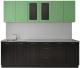 Готовая кухня Артём-Мебель Оля СН-114 МДФ 2.4 со стеклом (глянец фисташковый/черный) -