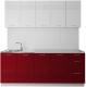 Готовая кухня Артём-Мебель Оля МДФ СН-114 2.0 без стекла (глянец белый/бордовый) -