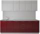 Готовая кухня Артём-Мебель Оля МДФ СН-114 2.4 без стекла (глянец белый/бордовый) -
