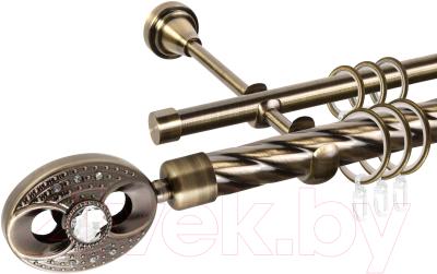 Карниз для штор АС ФОРОС Grace D25К/16Г + наконечники Игнацио (2м, антик)