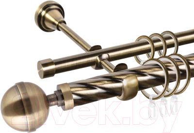 Карниз для штор АС ФОРОС Grace D25К/16Г + наконечники Шар большой (3м, антик)