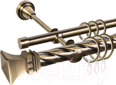 Карниз для штор АС ФОРОС Grace D25К/16Г составной + наконечники Эмпория (3м, антик)