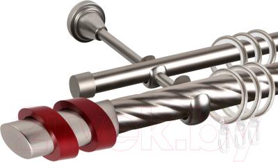 Карниз для штор АС ФОРОС Grace D25К/16Г + наконечники Вена красный (1.4м, сатин)
