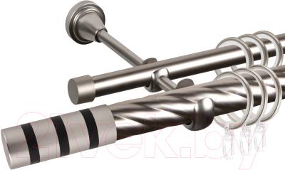 Карниз для штор АС ФОРОС Grace D25К/16Г + наконечники Тристан черный (1.4м, сатин)