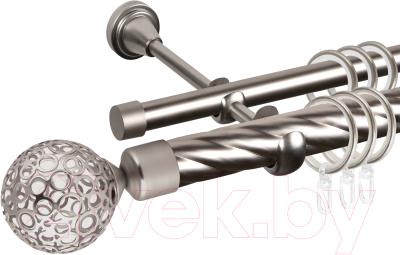 Карниз для штор АС ФОРОС Grace D25К/16Г + наконечники Метеор (2м, сатин)