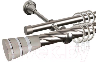 Карниз для штор АС ФОРОС Grace D25К/16Г + наконечники Пегас хром (2.4м, сатин)