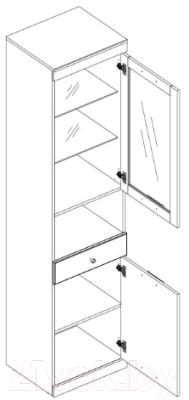 Шкаф-пенал с витриной Anrex Jagger 1V1D1SN (дуб монастырский/черный)