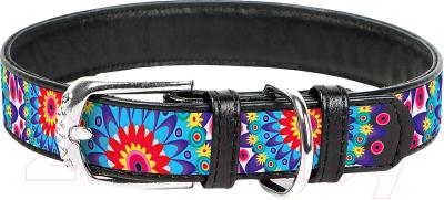 Ошейник Collar Waudog Цветы 37881 (черный)
