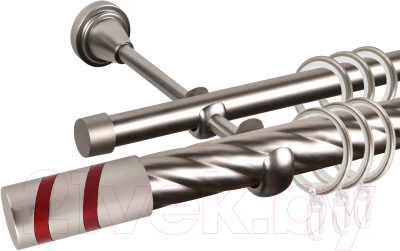 Карниз для штор АС ФОРОС Grace D25К/16Г составной + наконечники Изольда красный (3м, сатин)