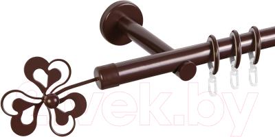 Карниз для штор АС ФОРОС Dance D19Г + наконечники Клевер (2.4м, шоколад)