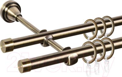 Карниз для штор АС ФОРОС Grace D16Г/16Г + заглушка Плоская (1.4м, антик)