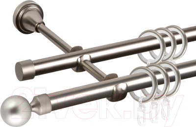 Карниз для штор АС ФОРОС Grace D16Г/16Г + заглушка Шар малый (2.4м, сатин)