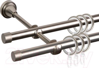 Карниз для штор АС ФОРОС Grace D16Г/16Г + заглушка Плоская (2.4м, сатин)