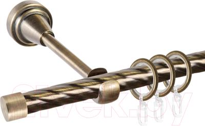 Карниз для штор АС ФОРОС Grace D16К + заглушка Плоская (1.4м, антик)