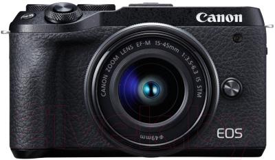 Беззеркальный фотоаппарат Canon EOS M6 Mark II EF-M 15-45mm IS STM + EVF-DC2 / 3611C012 фотоаппарат canon eos m50 kit ef m 15 45mm f 3 5 6 3 is stm white 2681c012