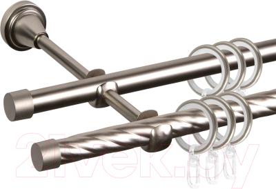Карниз для штор АС ФОРОС Grace D16K/16Г + заглушка Плоская (3м, сатин)