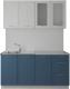 Готовая кухня Артём-Мебель Оля СН-114 со стеклом МДФ 1.4м (дуб полярный/дуб лазурный) -