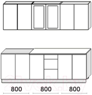 Готовая кухня Артём-Мебель Оля СН-114 со стеклом МДФ 2.4м (дуб полярный/дуб шоколад)