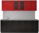 Готовая кухня Артём-Мебель Оля СН-114 МДФ 2.2м со стеклом (глянец красный/черный) -