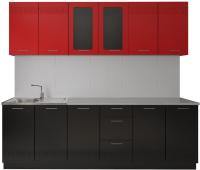 Готовая кухня Артём-Мебель Оля СН-114 МДФ 2.4м со стеклом (глянец красный/черный) -