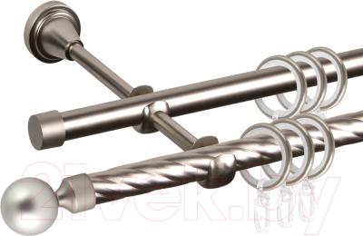 Карниз для штор АС ФОРОС Grace D16K/16Г + заглушка Шар малый (2.4м, сатин)