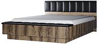 Двуспальная кровать Anrex Jagger 160 М с ПМ (дуб монастырский/черный) -