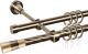 Карниз для штор АС ФОРОС Grace D16К/16Г + наконечники Конус золото (1.4м, антик) -