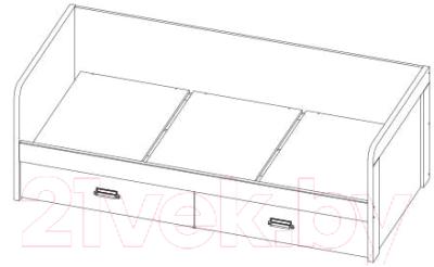 Кровать-тахта Anrex Diesel 90-2/D2 (дуб мадура/энигма)